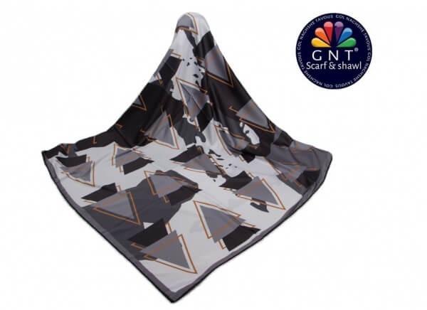روسری ابریشمی زنانه جی ان تی GNT مشکی طرح مثلت سه بعدی