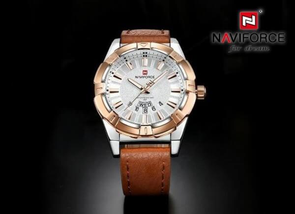 ساعت مچی ناوی فورس NAVIFORCE مدل NF9118M کیس استیل کافی بند عسلی